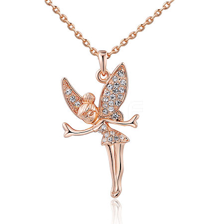 Fairy Real Rose Gold Plated Tin Alloy Pendant NecklacesNJEW-AA00064-36RG-1