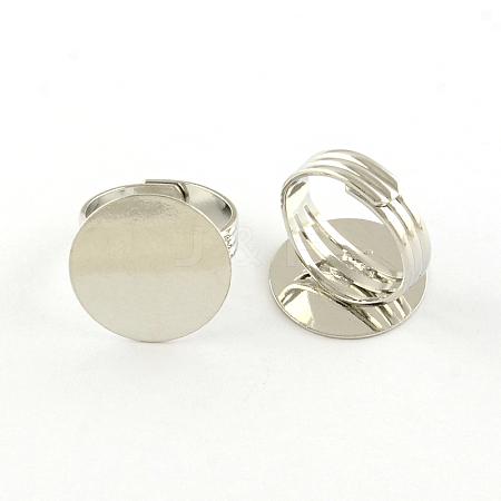 Flat Round Brass Pad Ring SettingsMAK-S033-018P-NF-1