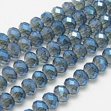 Blue Faceted Rondelle Electroplate Glass Bead Strands for Jewelry Making X-EGLA-D020-8x5mm-59