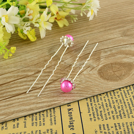 Lady's Hair Accessories Silver Color Iron Ball Hair Forks PHAR-S191-02-1