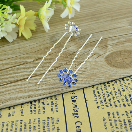 Lady's Hair Accessories Silver Color Plated Iron Rhinestone Flower Hair Forks PHAR-S185-05-1