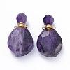 Faceted Natural Amethyst Openable Perfume Bottle PendantsG-E564-08C-G-2