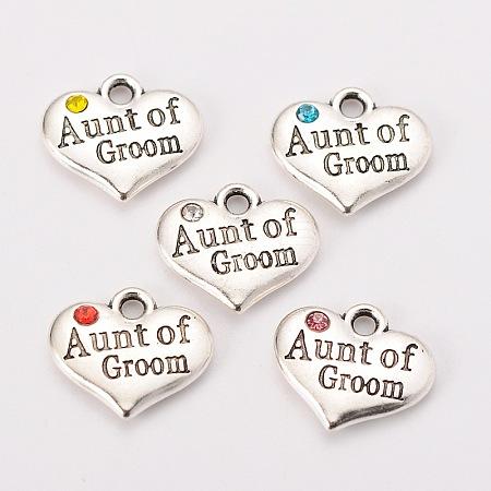 Antique Silver Tone Tibetan Style Heart with Aunt of Groom Rhinestone CharmsX-TIBEP-N005-01-1