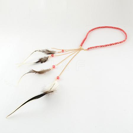 Women's Dyed Feather Braided Suede Cord HeadbandsOHAR-R187-06-1