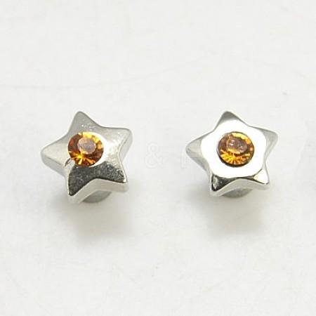 Alloy Rhinestone Stud EarringX-EJEW-G091-3-1