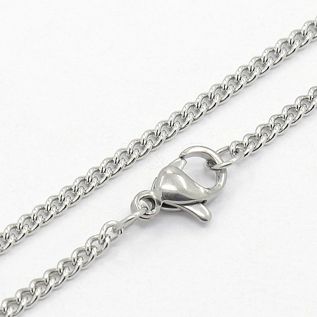 304 Stainless Steel Curb Chain Necklaces STAS-O037-114P-1