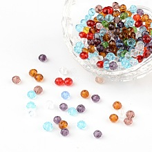 Faceted Rondelle Transparent Glass Beads GLAA-R152-4mm-M1