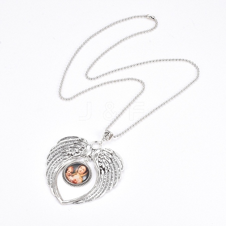 Zinc Alloy Angel Wing Heart Pendant Necklaces NJEW-G328-A01-1