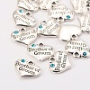 Wedding Party Supply Antique Silver Alloy Rhinestone Heart Carved Word Brother of Groom Wedding Family CharmsX-TIBEP-N005-26-3