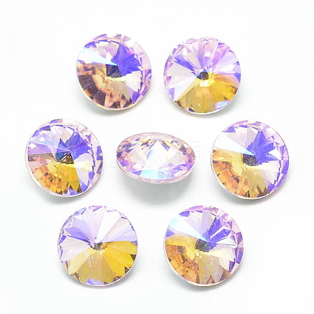 Pointed Back Glass Rhinestone Cabochons RGLA-T021-14mm-01-1