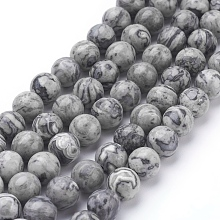 Natural Map Stone/Picasso Stone/Picasso Jasper Beads Strands G-G047-8mm