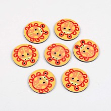 2-Hole Flat Round with Ladybird Pattern Acrylic Buttons BUTT-F055-06C