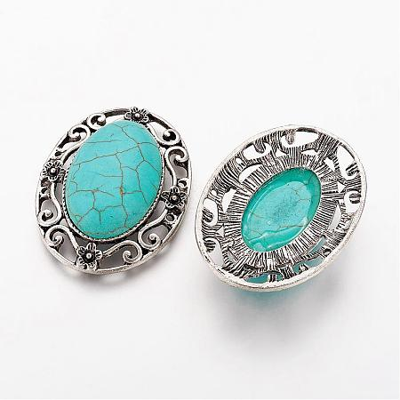 Antique Silver Tone Alloy Synthetic Turquoise LinksPALLOY-J473-02AS-1