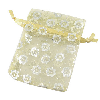 Organza Bags, Light Yellow, about 7cm wide, 9cm long