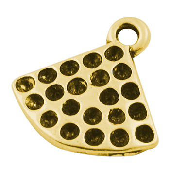 Alloy Pendant Rhinestone Settings, Lead Free and Nickel Free, Fan, Antique Golden, about 14mm long, 14mm wide, 2mm thick, hole: 2mm